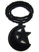 Large Wooden Islam Emblem Black Good Quality Wood Pendant & Chain
