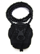 Large Wooden Bear Head Black Good Quality Wood Pendant & Chain