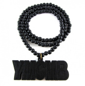 Large Wooden YMCMB Young Money Pendant Bead Chain Necklace ALL GOOD WOOD STYLE! black