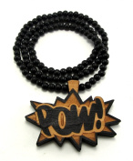 Large Wooden Pow! Two Tone Good Quality Wood Pendant & Chain