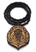 Large Wooden Lion Head Two Tone Good Quality Wood Pendant & Chain