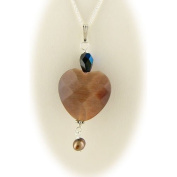 Cats Eye Copper Heart Pendant 45.7cm Sterling Silver Cable Chain Necklace