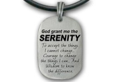 Serenity Prayer Necklace Pendant - Dog Tag style (43.2cm PVC rope) chain. God Grant Me the Serenity... Enamel Sobriety Quote