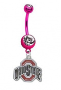Ohio State Buckeyes PREMIUM Pink Titanium Anodized Sexy Belly Button Navel Ring