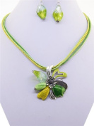Fashion Jewellery ~ Silvertone Light Green Murano Glass Flower Pendant Cord Necklace and Earrings Set