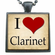 I Love Heart Clarinet Glass Tile Pendant Necklace with Black Chain