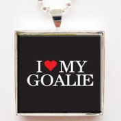 I Love Heart My Goalie Glass Tile Pendant Necklace with Silver Chain