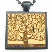 Gustav Klimt Tree of Life Glass Tile Black Pendant Necklace