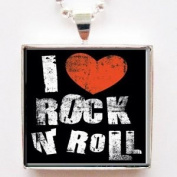 I Love Heart Rock N Roll Glass Silver Tile Pendant Necklace with Silver Chain