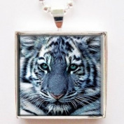 Majestic White Tiger Face Photo Glass Tile Pendant Necklace with Chain