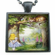 Alice in Wonderland Through the Looking Glass Meets the Cheshire Cat Glass Tile Pendant Necklace with Black Chain