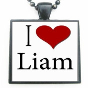 I Love Heart Liam Glass Black Tile Pendant Necklace with Black Chain