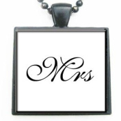 Mrs Affirmation Glass Tile Pendant Necklace with Black Chain