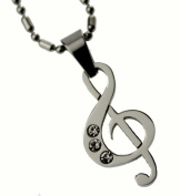 Musical Note Pendant Necklace, Fine Stainless Steel