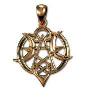 Copper Small Heart Pentacle Pentagram Pendant by Dryad Design