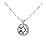 Stainless Steel Pendant David Star Design between 2 Bolted Rings. Chain 55.9cm Long is included.