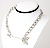 Silver plated Necklace. Chunky Chain link with Crystal studded Arrow Pendant.