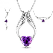 LOCOMO Women Pendant Charm Chain Necklace 18K White Gold Plated Silver Movable Angel Wing Flying Heart Bling Rhinestone Crystal Purple Stone JNK054PUR