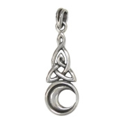 Sterling Silver Crescent Moon Celtic Knot Tiquetra Trinity Pendant