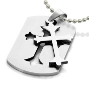 Embedded Cross Pendant (Celtic Cross - Dog Tag) Christian Jesus Christ Pendant necklace.