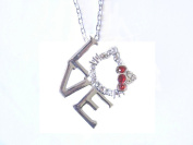 Kitty Love Charm Necklace with Red Bow