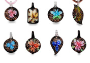 Bundle Monster Colourful Assorted Glass Murano Floral Pendant Necklace 8pc Set, 45.7cm Cord