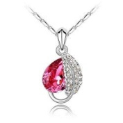Gorgeous Acacia Leaves Charm Pendant Necklace Fashion Jewellery- Pink Crystal