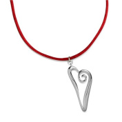 Sterling Silver Freeform Heart Gift Pendant on Red Satin Cord