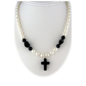 Black Onyx Cross Pearls Sterling Silver Necklace