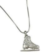 Silvertone Rhinestone Ice Skate Pendant Necklace Fashion Jewellery