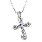 Silvertone Light Blue Rhinestone Cross Pendant Necklace Fashion Jewellery