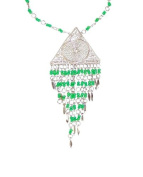 Filgree Silver Tone, Triangle Pendant Necklace, Dangling With Gushing Kiwi Green Beads