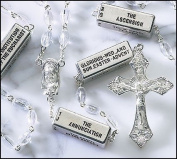 """""""PLC"""" Pray the Mysteries Rosary Clear 7mm Beads Includes All 20 Mysteries Madonna & Child Centre Piece"""
