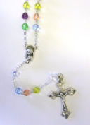 7MM MultiCOLOR Crystal Rosary Crucifix Necklace Catholic Christian Religious Cross