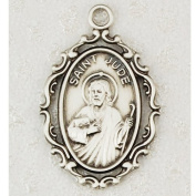 Antique Design, Deluxe Satin Silver Finished Pewter Pendant, St. Jude Medal with 45.7cm Chain.