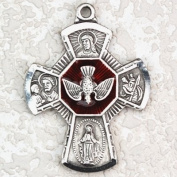 Antique Design, Deluxe Satin Silver Finished Pewter Pendant, 4-way Medal, St. Mary, Jesus, St. Joseph & St. Christopher with 61cm Chain.