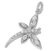 Defeat of Self Dragonfly Pendant Cubic Zirconia Sterling Silver 925