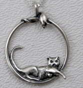 A Lazy Cat and an Inquisitive Mouse in Sterling Silver Made in America