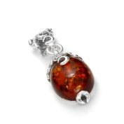 Sterling silver and cognac amber, oval-shaped pendant on 46cm sterling silver chain