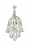 Sterling Silver and Cubic Zirconia Jewish Pendant of the Hamsa Symbol