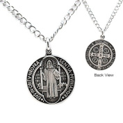 St. Benedict Antiqued Silver Medal, 61cm chain