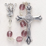 7mm Amethyst Fire Polished Crystal Beads and Madonna Centre Rosary