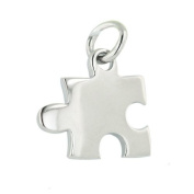 Rhodium Plated Sterling Silver Puzzle Piece Pendant Nickle Free