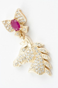 18K Gold Plated Cubic Zirconia and Ruby Horse Pendant