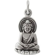 Small Sitting Young Buddha Pendant or Charm in Sterling Silver, #8440
