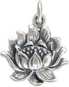 Detailed Lotus Flower Open Blossom Pendant in Sterling Silver, #7627