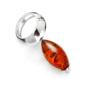 Sterling silver and cognac amber, marquise-shaped pendant on 46cm sterling silver chain