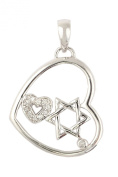 Contemporary Sterling Silver Heart Pendant Enclosing the Star of David and a Cubic Zirconia Heart
