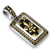 316L Stainless Steel Gold Plated IP Royal Fleur De Lis Tag Pendant - 45mm x 21mm