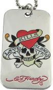 Ed Hardy LOVE KILLS SLOWLY Dog Tag Pendant Necklace ~ in Ed Hardy Pouch